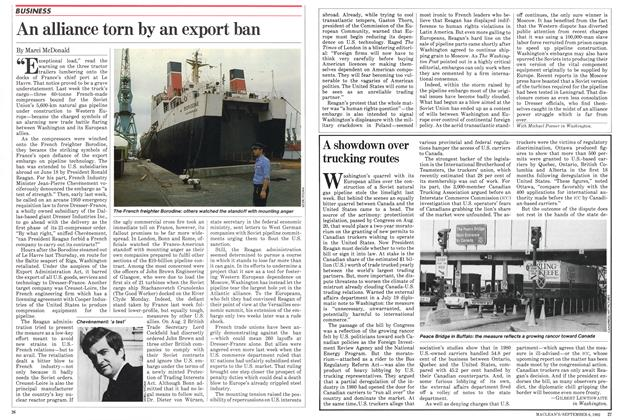 Article Preview: An alliance torn by an export ban, September 1982 | Maclean's