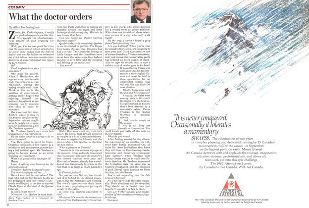 Article Preview: What the doctor orders, September 1982 | Maclean's