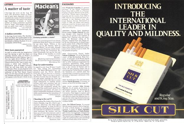 Article Preview: A matter of taste, September 1982 | Maclean's