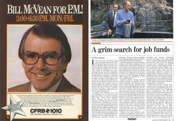 Article Preview: A grim search for job funds, September 1982 | Maclean's