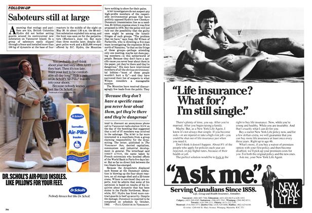 Article Preview: Saboteurs still at large, October 1982 | Maclean's