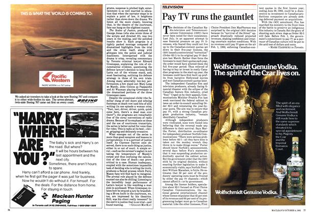 Article Preview: Pay TV runs the gauntlet, October 1982 | Maclean's