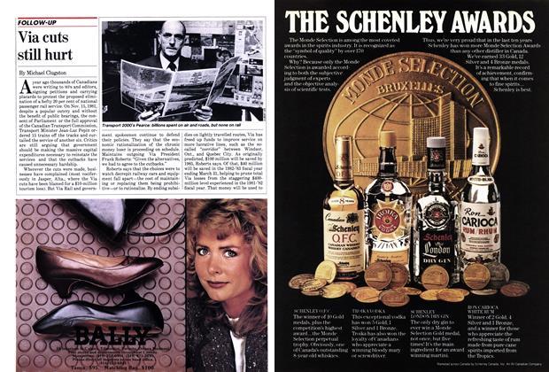Article Preview: Via cuts still hurt, October 1982 | Maclean's