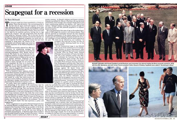 Article Preview: Scapegoat for a recession, October 1982 | Maclean's