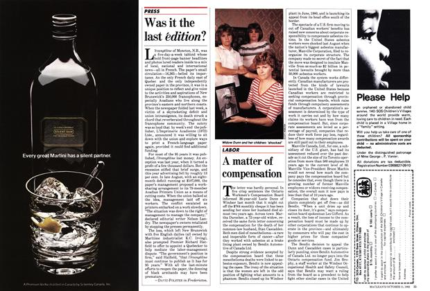 Article Preview: A matter of compensation, October 1982   Maclean's
