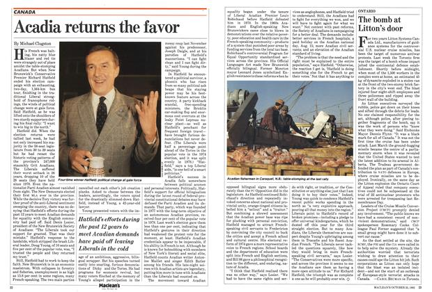 Article Preview: Acadia returns the favor, October 1982 | Maclean's