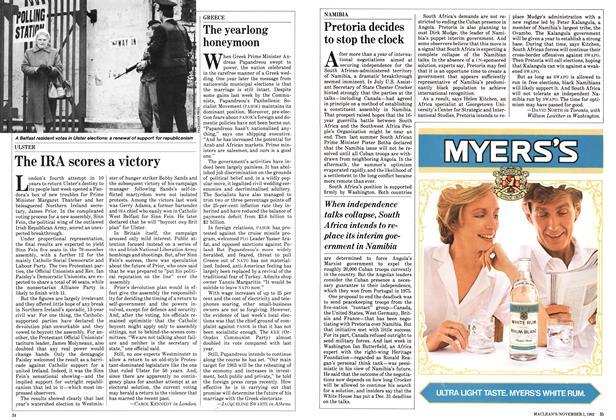 Article Preview: Pretoria decides to stop the clock, November 1982 | Maclean's