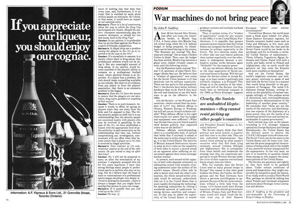 Article Preview: War machines do not bring peace, November 1982 | Maclean's