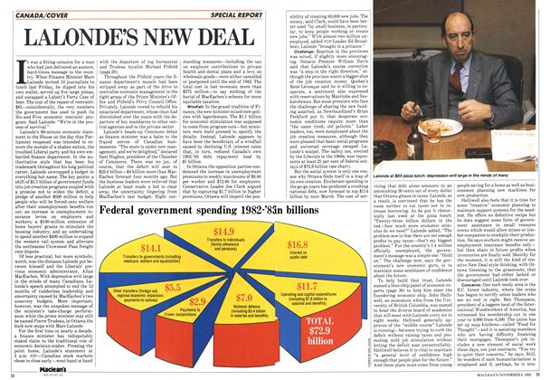 Article Preview: LALONDE'S NEW DEAL, November 1982 | Maclean's