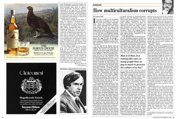 Article Preview: How multiculturalism corrupts, November 1982 | Maclean's