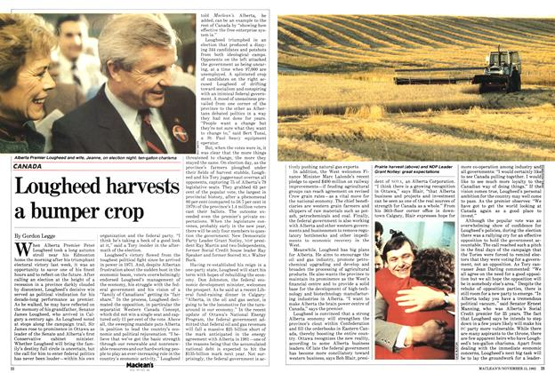 Article Preview: Lougheed harvests a bumper crop, November 1982 | Maclean's