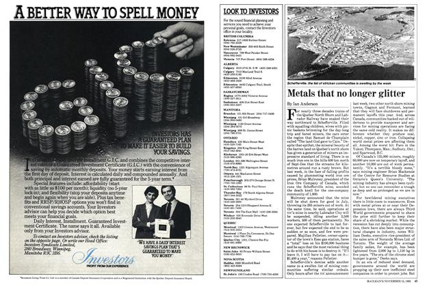 Article Preview: Metals that no longer glitter, November 1982 | Maclean's