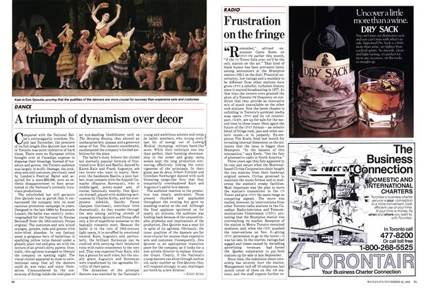 Article Preview: Frustration on the fringe, November 1982 | Maclean's