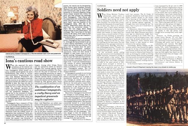 Article Preview: Iona's cautious road show, November 1982   Maclean's