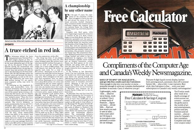 Article Preview: A truce etched in red ink, November 1982   Maclean's
