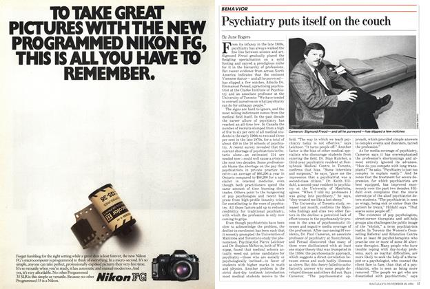 Article Preview: Psychiatry puts itself on the couch, November 1982 | Maclean's