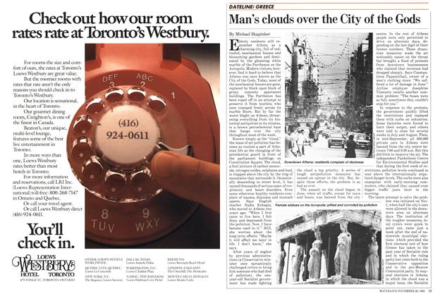 Article Preview: Man's clouds over the City of the Gods, November 1982 | Maclean's
