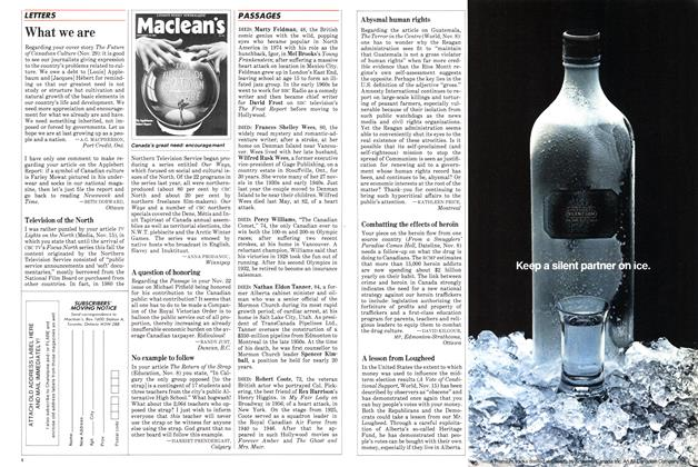 Article Preview: LETTERS, December 1982 | Maclean's