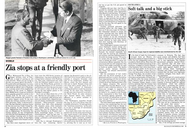 Article Preview: Zia stops at a friendly port, December 1982 | Maclean's