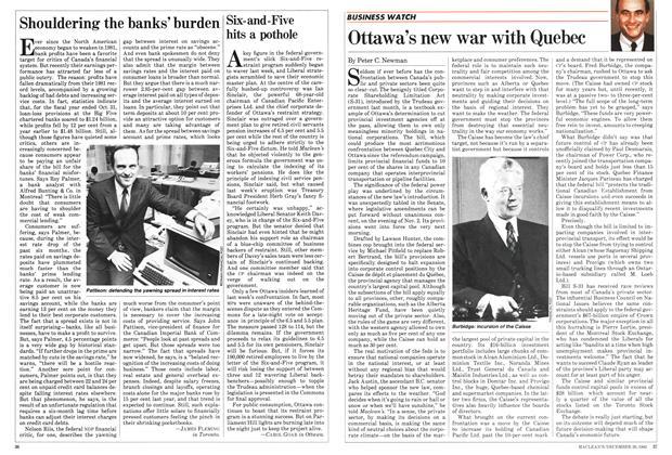 Article Preview: Shouldering the banks' burden, December 1982 | Maclean's