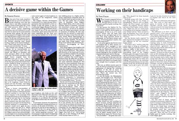 Article Preview: Working on their handicaps, January 1983 | Maclean's