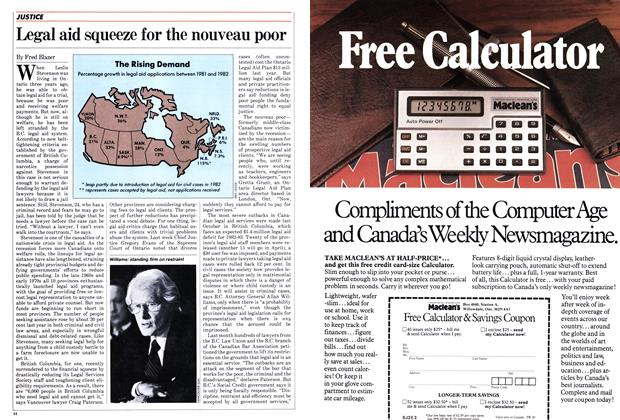 Article Preview: Legal aid squeeze for the nouveau poor, January 1983 | Maclean's