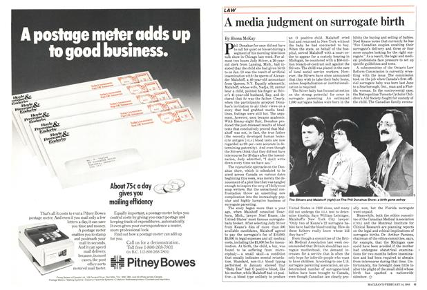 Article Preview: A media judgment on surrogate birth, FEBRUARY 14,1983 1983   Maclean's