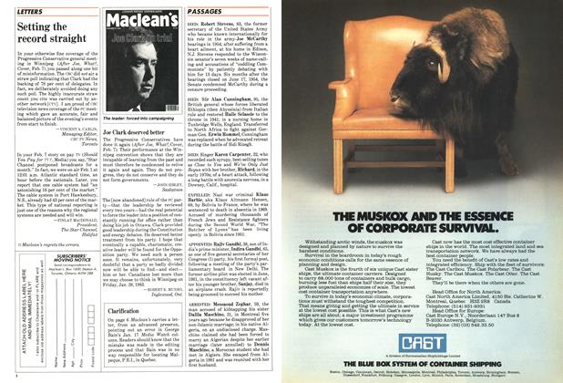 Article Preview: LETTERS, FEBRUARY 14,1983 1983 | Maclean's