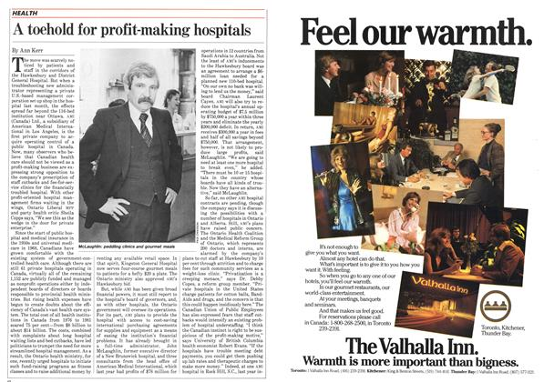 Article Preview: A toehold for profit-making hospitals, February 1983 | Maclean's