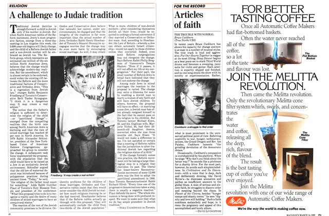 Article Preview: A challenge to Judaic tradition, March 1983 | Maclean's