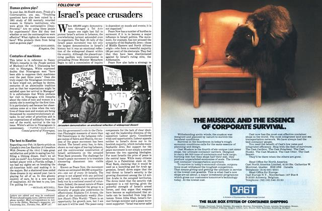 Article Preview: Israel's peace crusaders, March 1983 | Maclean's