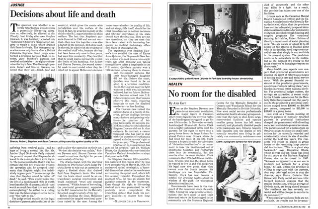 Article Preview: No room for the disabled, March 1983 | Maclean's