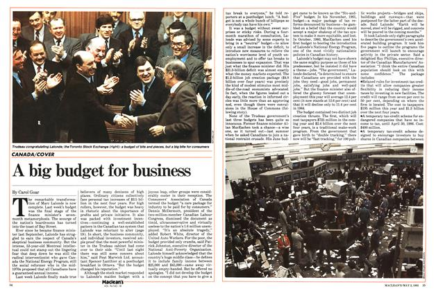 Article Preview: A big budget for business, May 1983 | Maclean's