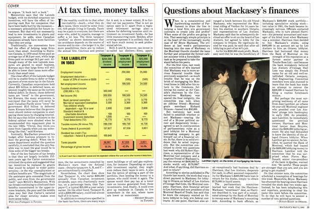 Article Preview: At tax time, money talks, May 1983 | Maclean's