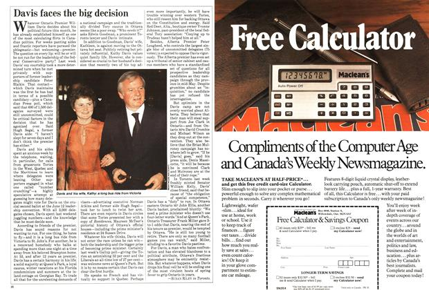 Article Preview: Davis faces the big decision, May 1983 | Maclean's
