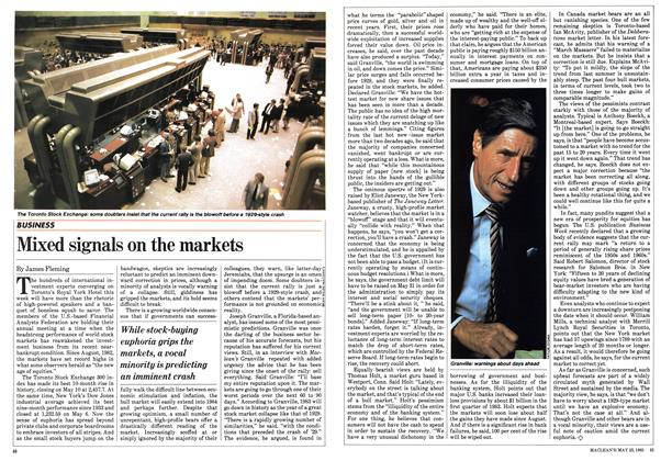 Article Preview: Mixed signals on the markets, May 1983 | Maclean's