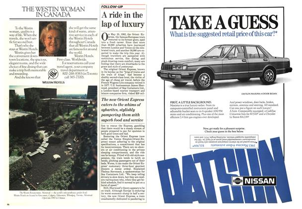 Article Preview: A ride in the lap of luxury, May 1983 | Maclean's