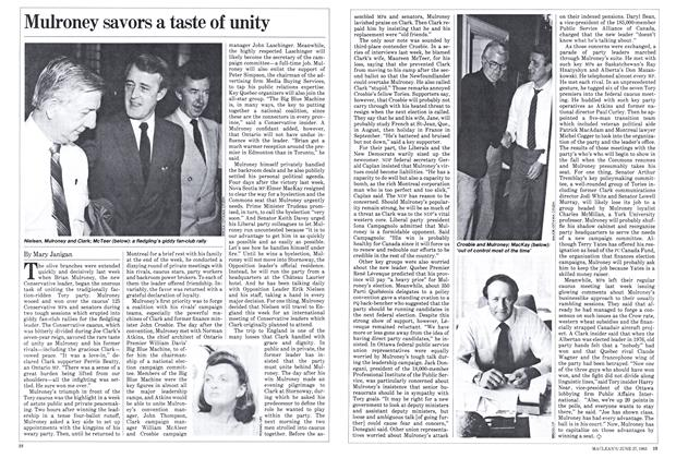 Article Preview: Mulroney savors a taste of unity, June 1983 | Maclean's