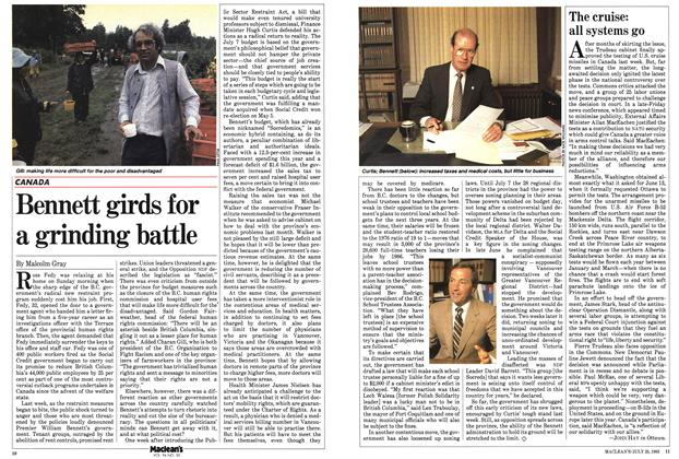 Article Preview: Bennett girds for a grinding battle, July 1983   Maclean's