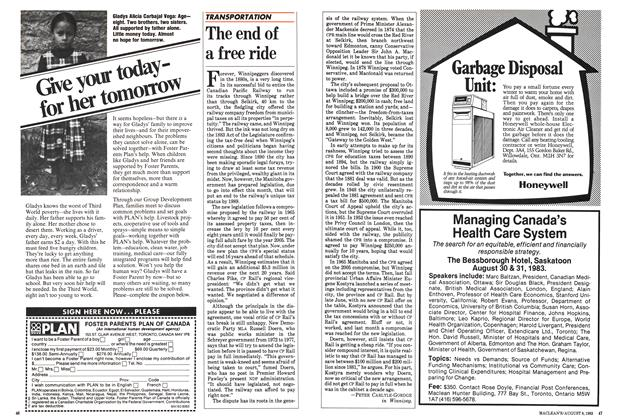Article Preview: The end of a free ride, August 1983 | Maclean's