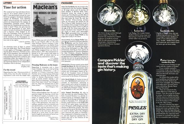 Article Preview: LETTERS, August 1983 | Maclean's