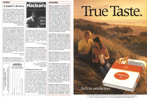 Article Preview: LETTERS, September 1983 | Maclean's