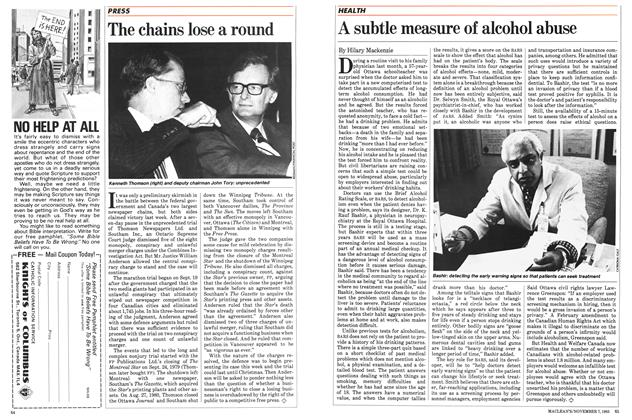 Article Preview: A subtle measure of alcohol abuse, November 1983   Maclean's