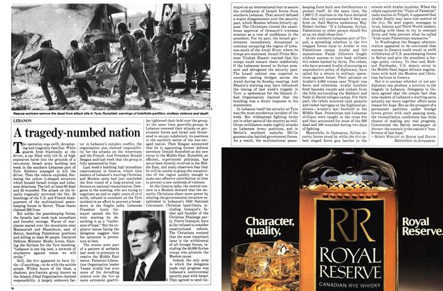 Article Preview: A tragedy-numbed nation, November 1983 | Maclean's