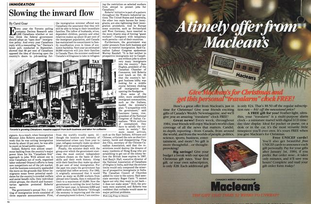Article Preview: Slowing the inward flow, November 1983 | Maclean's