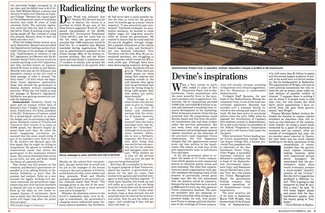 Article Preview: Devine's inspirations, November 1983 | Maclean's