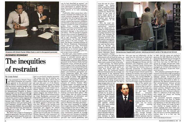 Article Preview: The inequities of restraint, November 1983   Maclean's