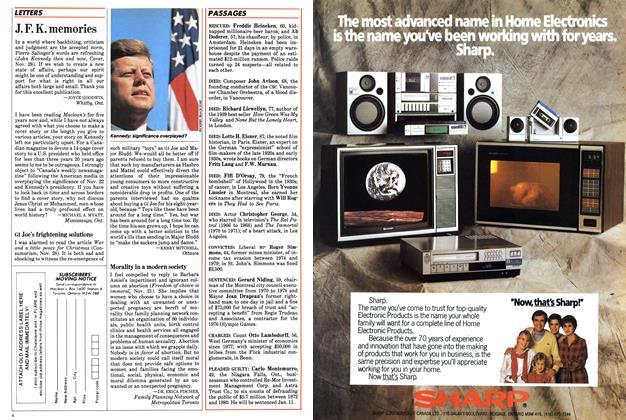 Article Preview: J. F. K. memories, December 1983 | Maclean's