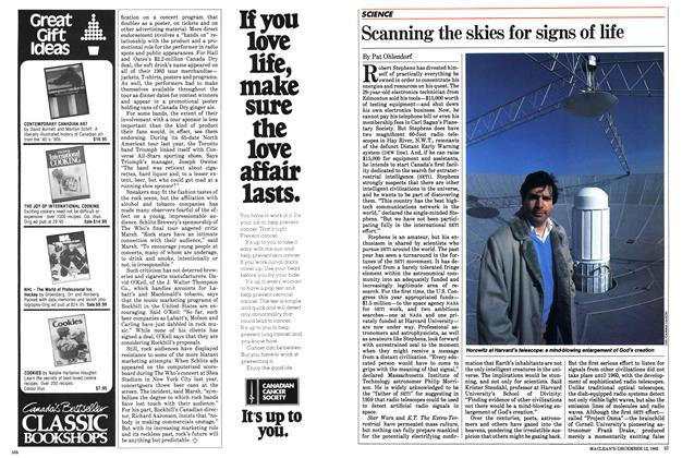 Article Preview: Scanning the skies for signs of life, December 1983 | Maclean's