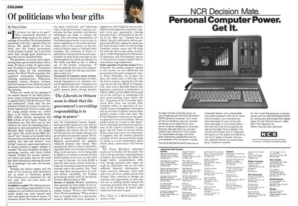 Article Preview: Of politicians who bear gifts, December 1983 | Maclean's